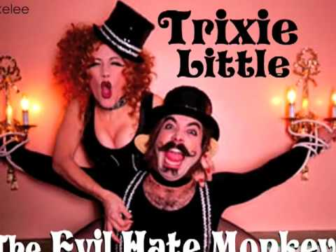 Burlesque Trixie Little & the Evil Hate Monkey in the volcano dance