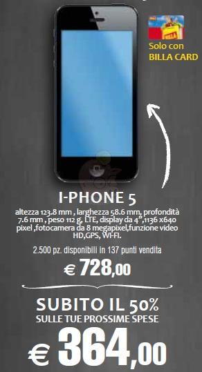 Apple iPhone 5 a metà prezzo da Billa